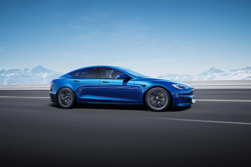 2021 Tesla Model S Plaid Side Perspective Driving
