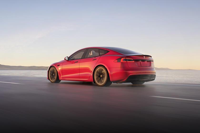 2021 Tesla Model S Plaid Rear View Driving