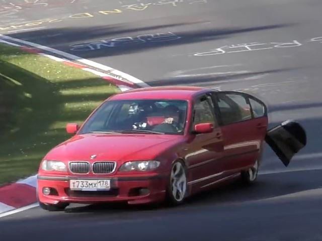 BMW Driver Won't Stop Lapping Nurburgring Even With Door Falling Off